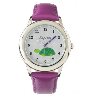 Personalized name cute turtle pink girls watch