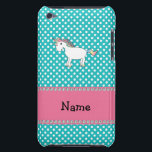 "Personalized name cute unicorn barely there iPod cover<br><div class=""desc"">Turquoise/teal/aqua polka dots pattern with a cute rainbow unicorn and pink diamonds stripe (not real diamonds) personalized with your name gifts or monogram gifts or your initials</div>"