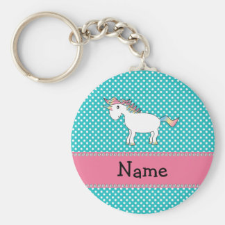 Personalized name cute unicorn basic round button keychain