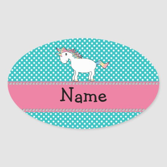 Personalized name cute unicorn oval sticker