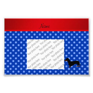 Personalized name dachshund blue polka dots photo art