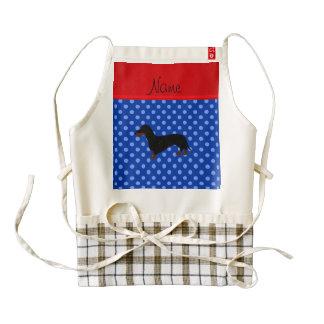Personalized name dachshund blue polka dots zazzle HEART apron