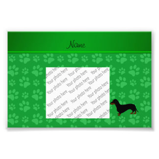 Personalized name dachshund green paws photo print