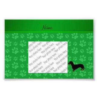 Personalized name dachshund green paws photo art