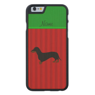 Personalized name dachshund red stripes carved maple iPhone 6 slim case