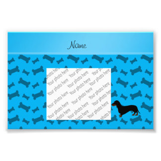 Personalized name dachshund sky blue bones photo print