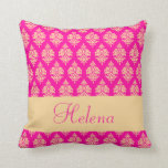 Personalized,name,damask Pattern,fuchsia  Pillow at Zazzle