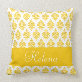 Personalized,Name Damask Pattern, Yellow Pillow