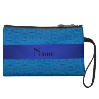 Personalized name dark blue square circles wristlets