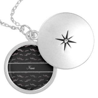 Personalized name dark gray glitter mustaches pendants