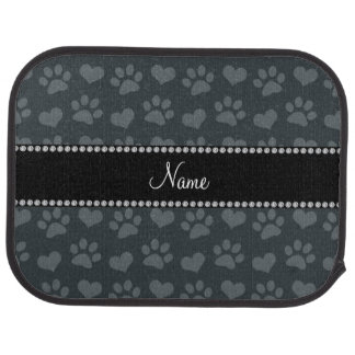Personalized name dark gray hearts and paw prints car floor mat