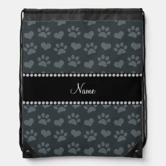Personalized name dark gray hearts and paw prints drawstring bag
