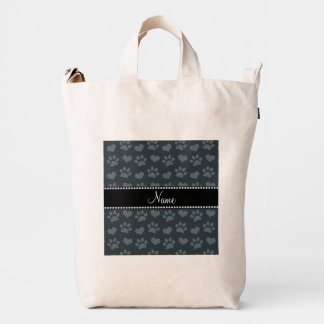 Personalized name dark gray hearts and paw prints duck bag