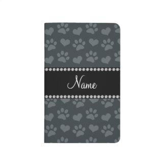 Personalized name dark gray hearts and paw prints journal