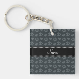 Personalized name dark gray hearts and paw prints square acrylic key chains