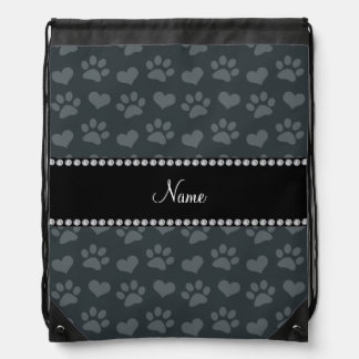 Personalized name dark gray hearts and paw prints drawstring backpacks