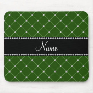 Personalized name Dark green diamonds Mouse Pad