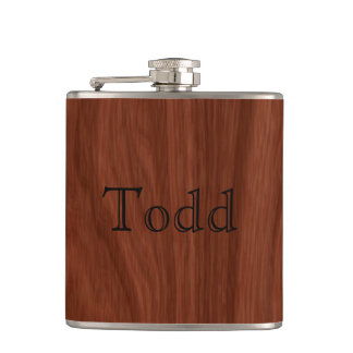 Personalized Name Dark Mahogany Woodgrain Pattern Flask