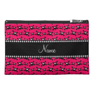 Personalized name dark pink skulls pattern travel accessories bag