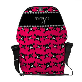 Personalized name dark pink skulls pattern courier bags