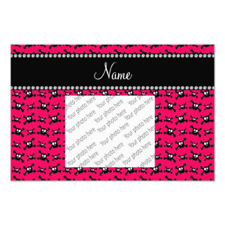 Personalized name dark pink skulls pattern photo print