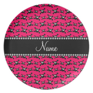 Personalized name dark pink skulls pattern party plates