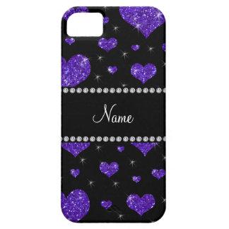 Personalized name dark purple glitter hearts iPhone SE/5/5s case
