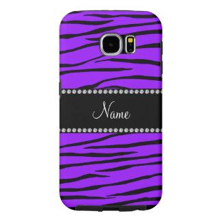 Personalized name dark purple zebra stripes samsung galaxy s6 case