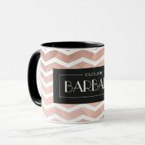 Personalized name/date rose gold geometric pattern mug