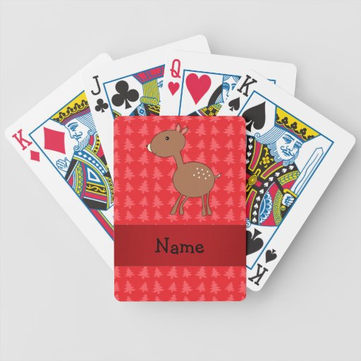 Personalized name deer red christmas trees bicycle poker deck