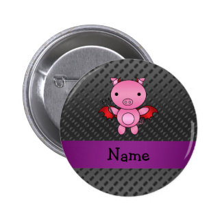 Personalized name devil pig black polka dots 2 inch round button
