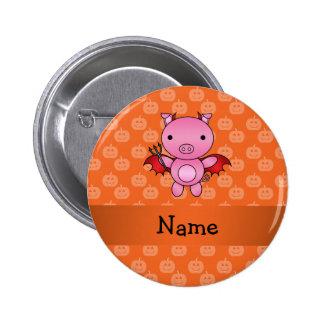 Personalized name devil pig orange pumpkins 2 inch round button