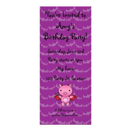 Personalized name devil pig purple bats personalized announcements