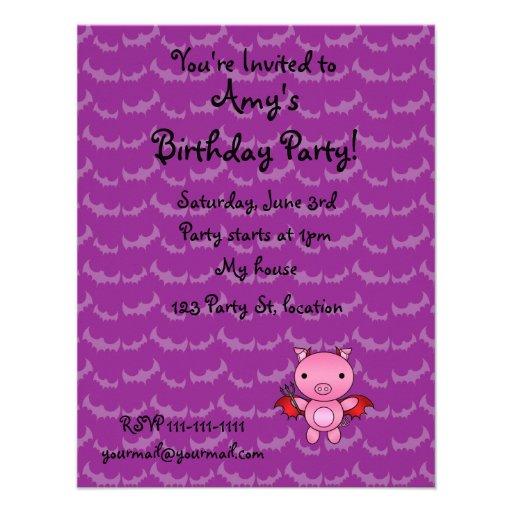 Personalized name devil pig purple bats invites