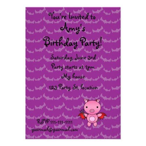 Personalized name devil pig purple bats personalized invitations