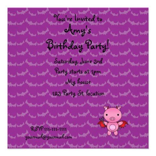 Personalized name devil pig purple bats invitations