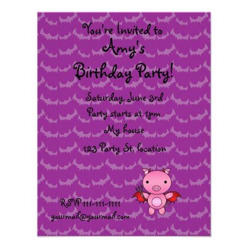Personalized name devil pig purple bats custom invites