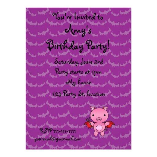 Personalized name devil pig purple bats invitation