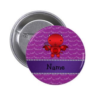 Personalized name devil purple bats 2 inch round button
