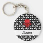 Personalized name devil skulls key chain