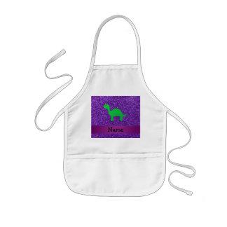Personalized name dino purple glitter kids' apron