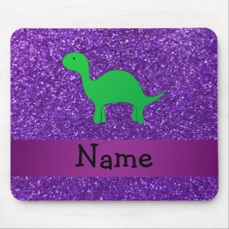 Personalized name dino purple glitter mouse pad