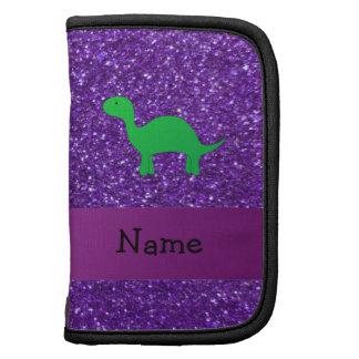 Personalized name dino purple glitter planner