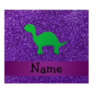 Personalized name dino purple glitter posters