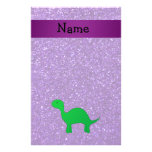 Personalized name dino purple glitter custom stationery