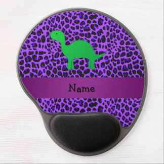 Personalized name dino purple leopard gel mouse pad