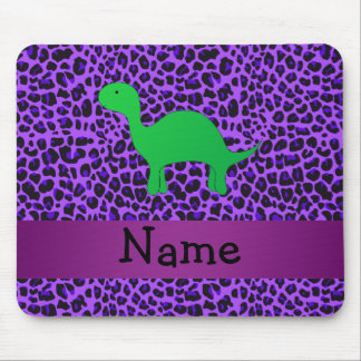 Personalized name dino purple leopard mouse pad