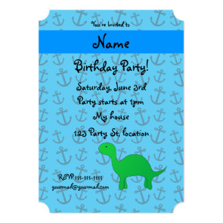 Personalized name dinosaur blue anchors pattern 5x7 paper invitation card