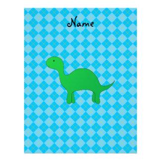 Personalized name dinosaur blue argyle letterhead template