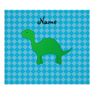 Personalized name dinosaur blue argyle posters
